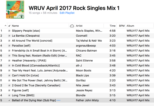 WRUV April Rock Singles Mix 1 - 2017